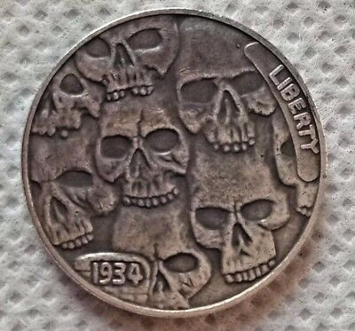 1934-D Hobo BUFFALO NICKEL Crowded Skulls Coin  ()