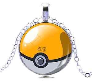 Pokemon-Go-Yellow-Glass-White-Gold-GP-Pokeball-Necklace-N122