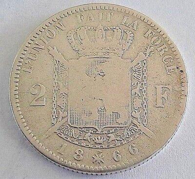 ===>>> 2 Francs 1866 2 Frank Leopold II Belgique Belgïe <<<===