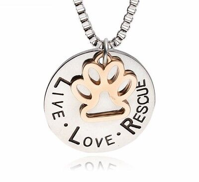 Live Love Rescue Necklace Animal Lover Dog Cat Jewelry Paw Necklace Gift Paw Pet