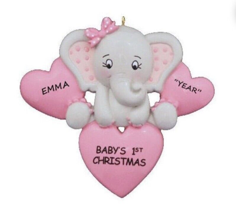 Personalized Elephant Girl Baby's First Christmas Ornament