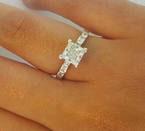 2 Ct Diamond Engagement Wedding Ring Princess Cut 14k White Gold