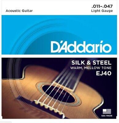 3 Sets D'Addario EJ40 Silk & Steel Ball End Acoustic Guitar Strings Folk 11-47