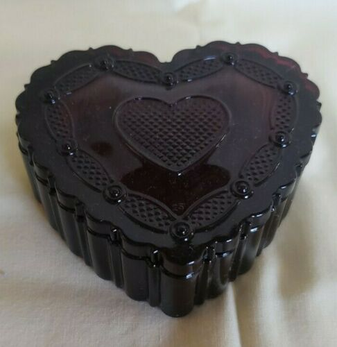 Vintage Ruby Red Cape Cod Avon Heart Trinket Box With Lid