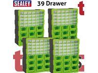 SET OF FOUR SEALEY APDC39HV STORAGE CABINET BOX 39 DRAWER - HI-VIS GREEN/BLACK
