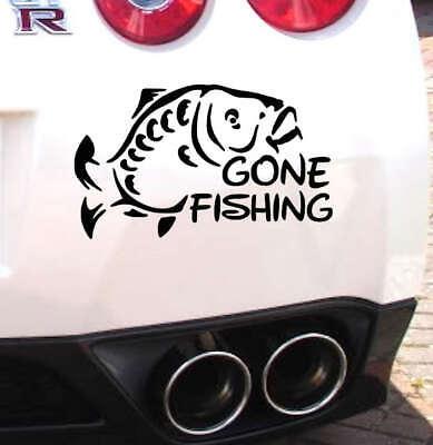 GONE FISHING Decal Sticker Car Van Caravan Window Bumper Angling Tackle box uk