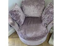 Laura Ashley Snuggle Chair / Armchair - Villandry Amethyst Fabric