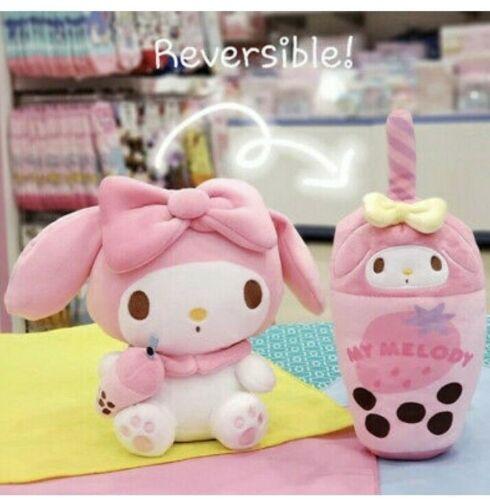 Sanrio My Melody Plush Pink Strawberry Bubble Boba Tea Drink Reversible