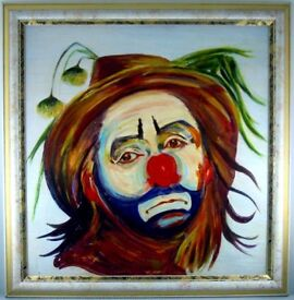 """OIL PAINTING OF CLOWN TITLED """"BIG TOP"""" FROM ROYAL ACADEMY EXHIBITION SUMMER 1986"""