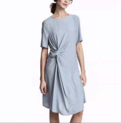 NWT H&M Size 8 Light Blue Dress with Knot Detail Asymmetrical Hem