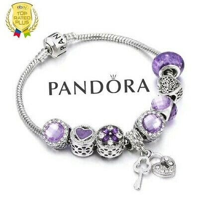 Authentic Pandora Charm Bracelet Silver Purple Love Heart with European Charms