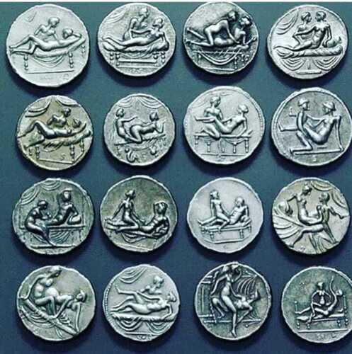 Ancient Roman Empire Coins, Caligula, Erotic, Brothel, 16 Coins Set