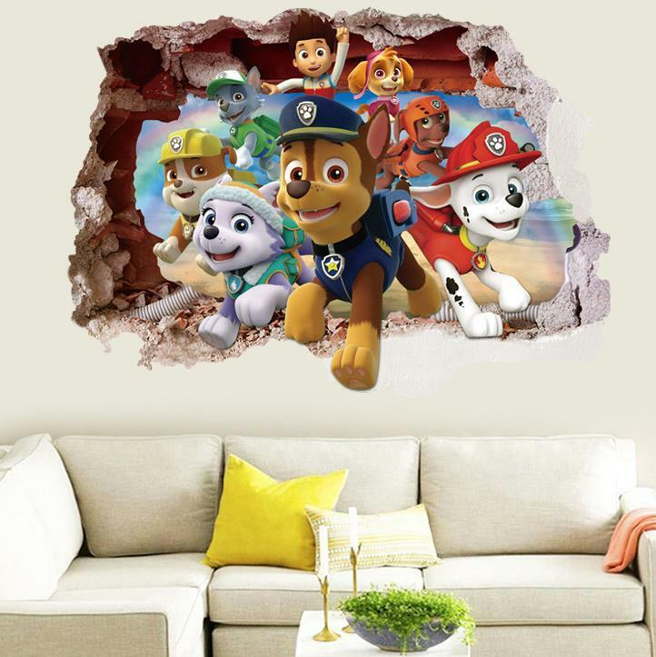 Home Decoration - US 3D Wall Stickers Paw Patrol Kids Cartoon Room Decal Wallpaper Removable