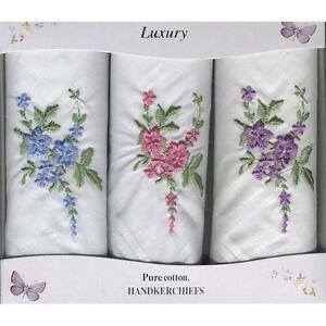 LADIES S/3 WHITE COTTON EMBROIDERED FLORAL HANDKERCHIEFS HANKIES CHOICE OF 6
