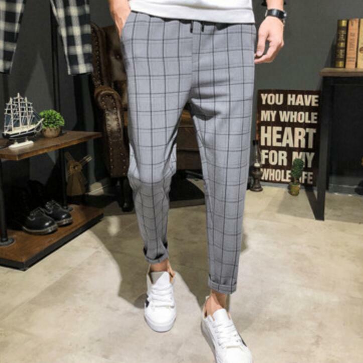 Mens Slim Fit Pants Plaid Slacks Casual Trousers Tapered Skinny Fashion Korean