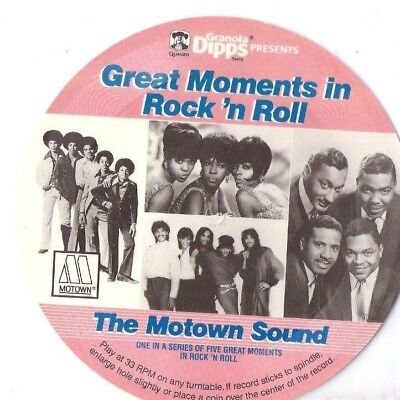 "GREAT MOMENTS IN ROCK n ROLL Motown Sound 7"" promo flexi record QUAKER GRANOLA"