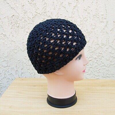 Solid Black Cotton Crochet Knit Hat Summer Beanie Women's Chemo Men's Skull Cap ()