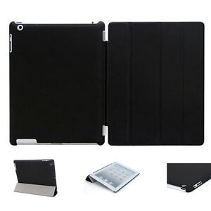 Black iPad Case iPad 4,3 iPad 2 Case Pu Leather Smart Cover and Back Case