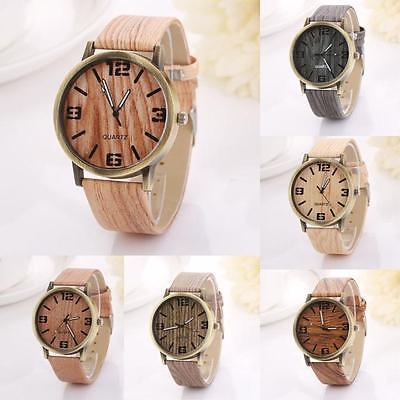 Women Fashion watches Vintage Wood Grain Quartz creative Watch Wristwatch Gift