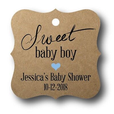 24 Sweet Baby Boy Shower Favor Tag Personalized - Baby Shower Sweets