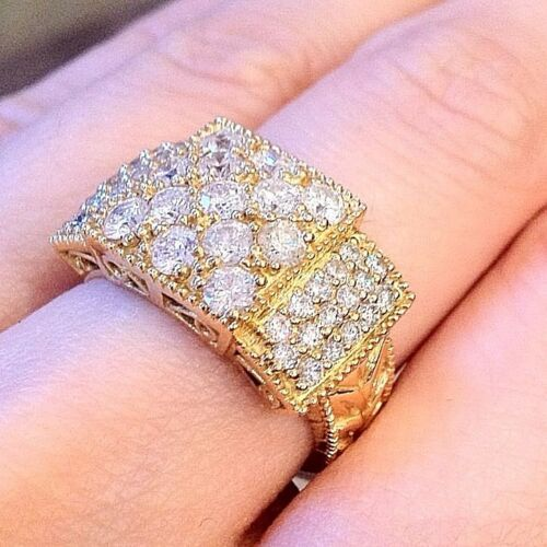 2.01 Ct Wide Diamond Pave Ring 18k Yellow Gold - Hm642si