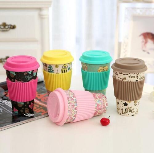 Reusable Bamboo Fiber Mug Travel Coffee Mugs Cups Takeaway &