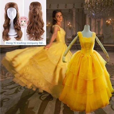 Beauty And The Beast Cosplay Dress Wig 2Pcs Set Woman Halloween Cosplay Costumes](Halloween Costumes Beauty And The Beast)