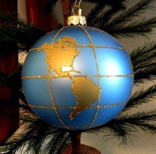 Big Blue World Globe w Gold Glitter  Blown Glass Christmas Tree Ornament  Poland