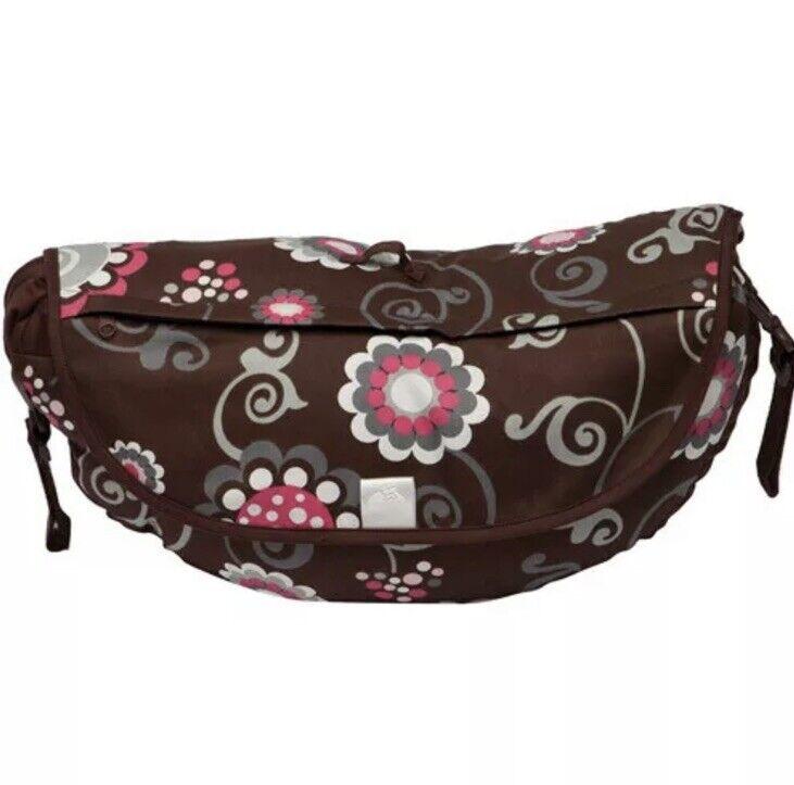 New Travel Boppy Pillow Pink Brown Olivia Polka Dot Folds Zips Up Shoulder Strap