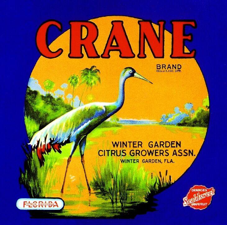 Winter Garden Florida Crane - Orange Orange Citrus Fruit Crate Label Art Print