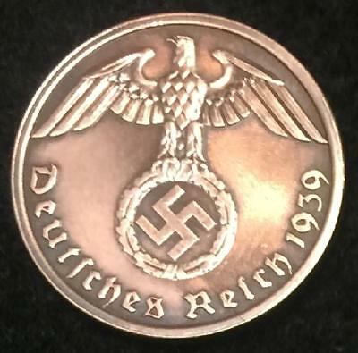 Rare Antique Nazi 1Pf Coin with Big EAGLE & SWASTIKA Authentic WW2 - Artifact