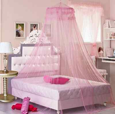 Mosquito Net Bed Canopy Netting Curtain Dome Fly Midges Insect Stopping PinkUKBY