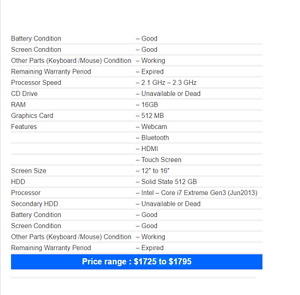 DELL XPS 15 2013 i7 2.2Ghz 512 SSD