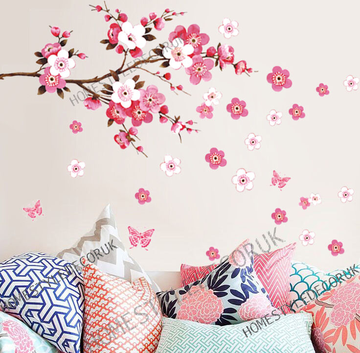 Home Decoration - Large Cherry Blossom Flower Butterfly Tree Wall Stickers Art Decal Home Decor