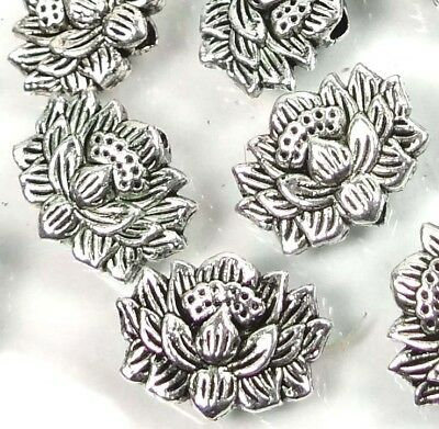 25 Antique Silver Pewter Lotus Flower Buddhist Beads 12x8mm ~ Lead-Free ~