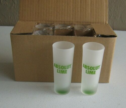 Absolut Lime Shot Glasses Frosted Glass Vodka 10 Shooter Shot Glass Case of 10