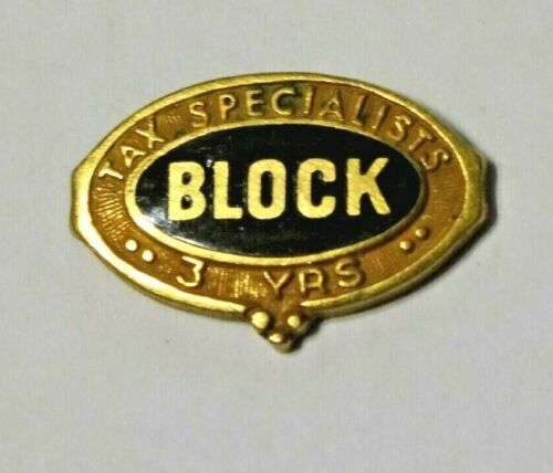 H & R BLOCK ~ GOLD FILLED ~ TAX SPECIALISTS 3 YEAR LAPEL PIN