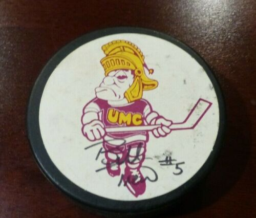Bill Trew Autographed Hockey Puck UMC Crookston UND Sioux Billy Trew Signed Puck
