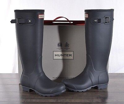 Hunter Women's Grey Matte Rubber Rain Boots Original Tall 8 MED WFT1000RMA NEW