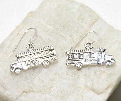 School Bus Charm Earrings 1 pair .925 sterling silver hook pewter Charms Teacher