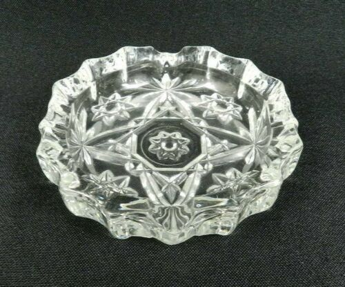 """Vintage Anchor Hocking Early American Prescut Ashtray Clear Glass 4"""""""
