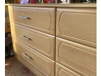 Chest of drawers, made out of solid clear finished wood wood