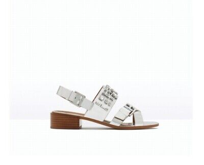 ZARA SILVER JEWELLED MID HEEL FAUX LEATHER SANDALS SHOES, SIZE 5-BNIB for sale  Shipping to Nigeria