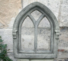 Stone Gothic Large Window Frame in Reconstituted Limestone - Christmas Decor