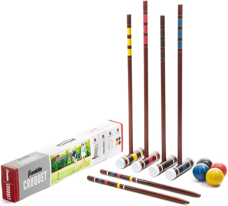 Franklin Sports Croquet Set - Includes Croquet Wood Mallets,