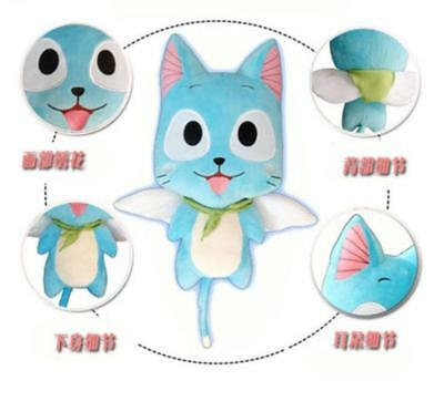 12'' Fairy Tail Cat Blue Lovely Anime Happy Cartoon Doll Plush Soft Top Toy New