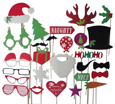 27pcs Christmas Santa Hat Party Funny Masks DIY Photo Booth Props Mustache Stick