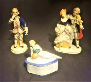 TWO FIGURINES OCCUPIED JAPAN & A TRINKET BOX DEUTCHLAND