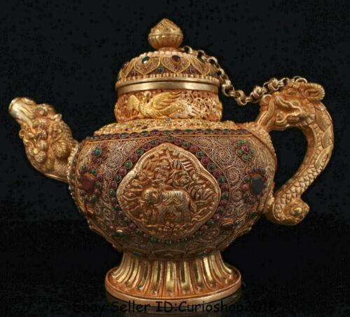 "13"" Old Tibet Nepal Copper 24K Gold Gilt Dragon Handle Elephant Wine Pot Flagon"