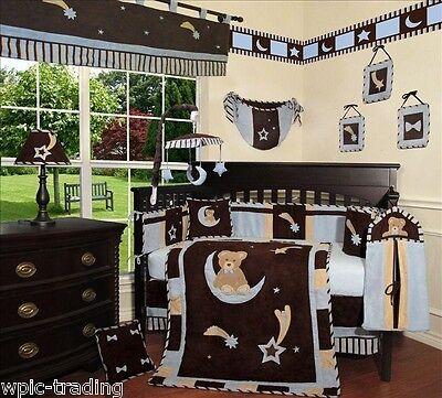 Baby Boutique - Blue Bear & Moon - 14 pcs Crib Bedding Set incl. Music Mobile